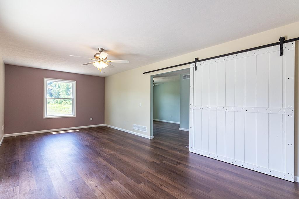 main living space barn door open